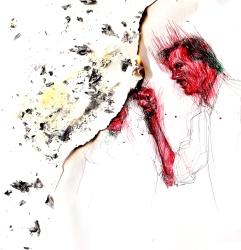 """'Body Heat"""". Escena de William Hurt y Kathleen Turner versionada por le frère. Bolígrafo sobre papel y fuego aplicado con llama de mechero."""