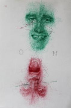 'On-No', por le frère. bolígrafos rojo y verde sobre papel.