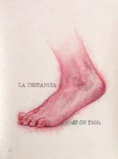 'La distancia es un paso', por le frère. Bolígrafo rojo sobre papel.